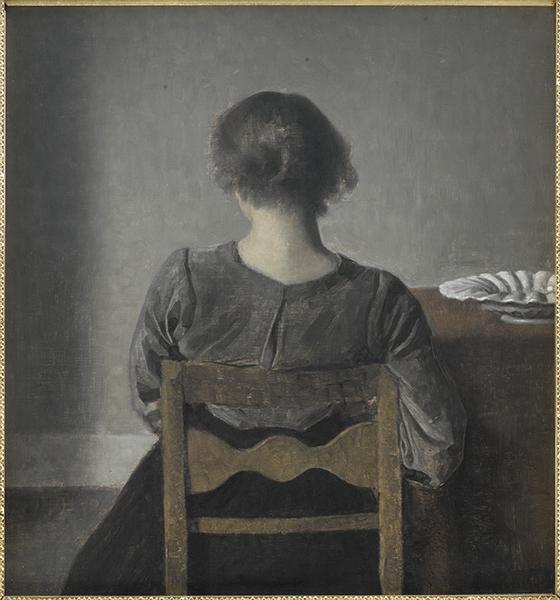 Vilhelm Hammershøi. Le maître de la peinture danoise : Vilhelm Hammershøi. Intérieur avec une femme de dos, 1898, huile sur toile, 51,5 x 46 cm © Nationalmuseum, Stockholm