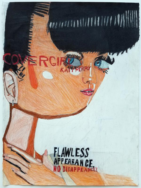 Helen Rae et les lauréates du Prix Art Absolument pour l'Outsider Art 2019 : Helen Rae. August 4, 2017. 2017, crayon de couleur et graphite sur papier, 76 x 56 cm.