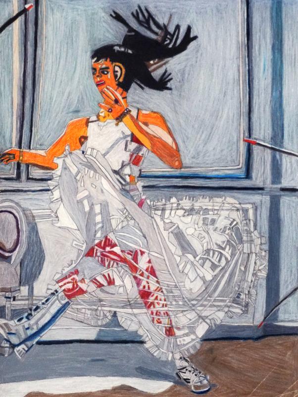 Helen Rae et les lauréates du Prix Art Absolument pour l'Outsider Art 2019 : Helen Rae. January 11, 2018. 201_, crayon de couleur et graphite sur papier, 61 x 46 cm.