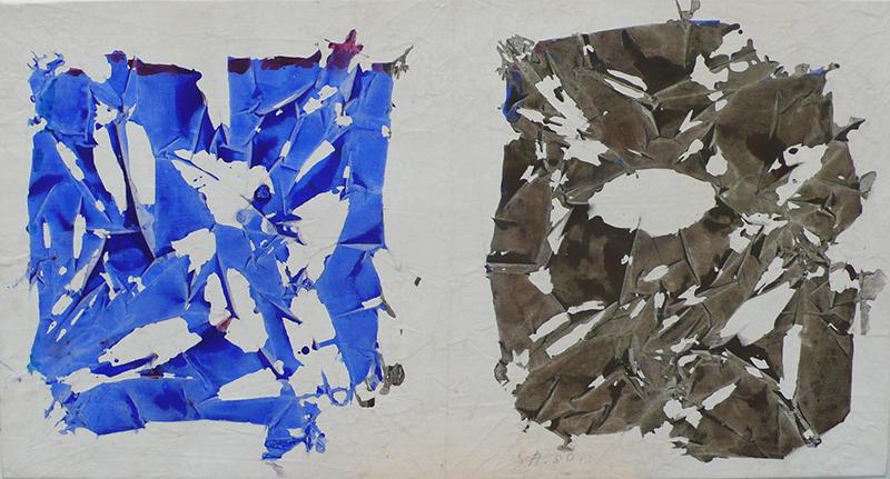 Simon Hantaï. Regards sur quelques Tabulas : Tabula, 1980 acrylique sur toile 48 x 90 cm. Courtesy galerie Jean Fournier, Paris