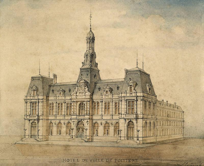 Un Louvre pour Poitiers, Construction du Musée – Hôtel de ville (1867-1875). : Vue perspective de l'Hôtel de Ville, 1869, G. Guérinot