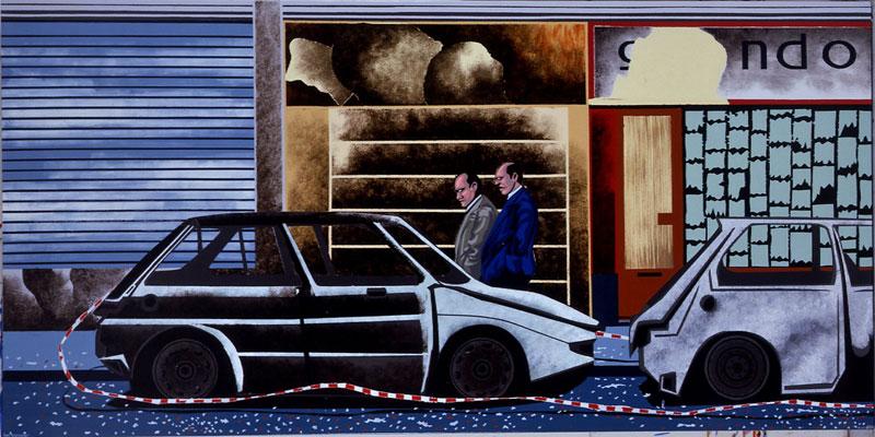 Hervé Di Rosa – « Détours du monde, 1998 -2011 » : Hervé Di Rosa, Rue Gérando, 2009, acrylique sur toile et vernis, 100x120cm, © Galerie Louis Carré & Cie