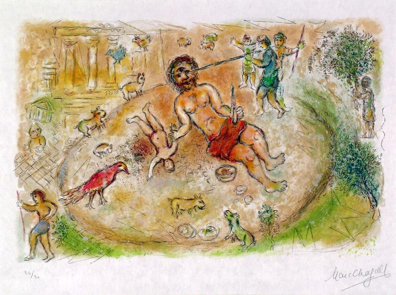 Homère : Marc Chagall. Polyphème. 1974-75, lithographie. A 13 (tome 1) ; Nice, Musée Chagall © musées nationaux du XXème siècle des Alpes-Maritimes/ Photo Patrick Gérin 2006 ; © 2019 ADAGP, Paris
