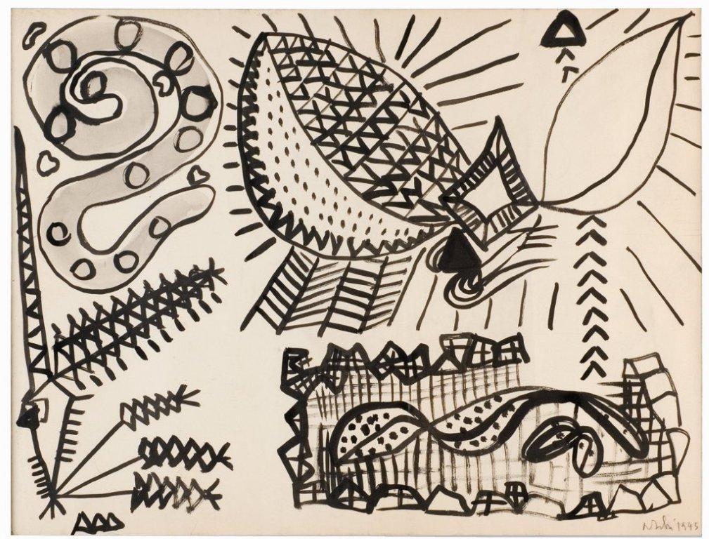 Olivier Debré, signes-personnages, signes-paysages : Olivier Debré, Le Sourire sadique du nazi 1946. Encre de Chine sur papier, 62 x 47 cm Paris, Galerie Louis Carré & Cie © François Lauginie