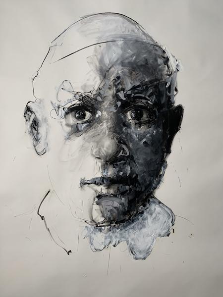 Philippe Pasqua. Face-à-face : Le Pape, 2021, Crayon et huile Sur papier, 230x200 cm. Courtesy galerie RX, Paris.