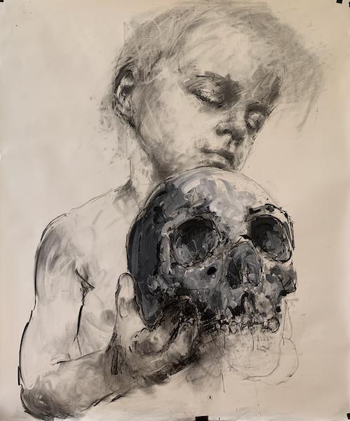 Philippe Pasqua. Face-à-face : Orso, 2020, Crayon sur papier et huile, 190x160 cm. Courtesy galerie RX, Paris.