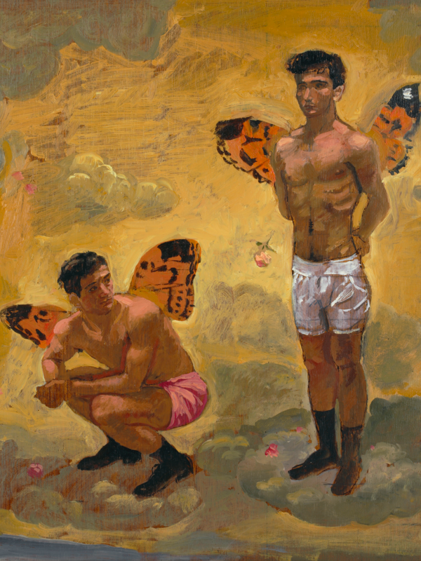 Yannis Tsarouchis : Dancing in Real Life : Yannis Tsarouchis, Winged Spirit Buttoning His Underpants, 1966, acrylic on paper, 39.2 x 28.2 cm. © Yannis Tsarouchis Foundation.