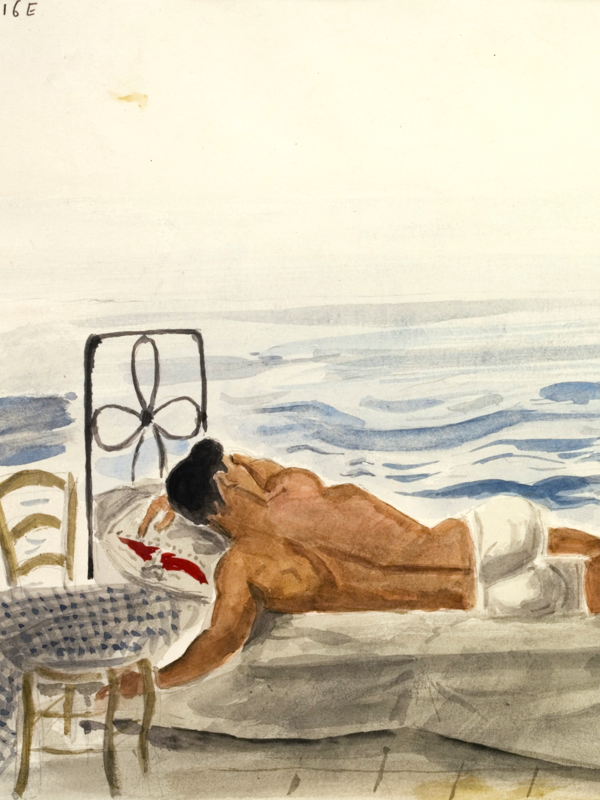 Yannis Tsarouchis : Dancing in Real Life : Yannis Tsarouchis, Youth Asleep by the Sea, 1965, watercolor on paper, 24 x 31.5 cm. © Yannis Tsarouchis Foundation