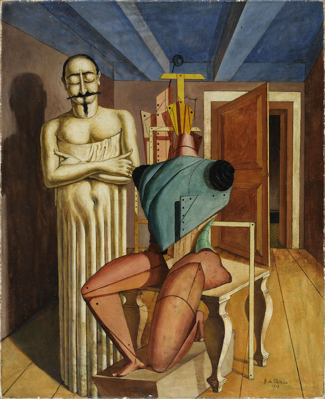 Giorgio De Chirico. La peinture métaphysique : Giorgio de Chirico (1888-1978) Il Ritornante 1917-1918 Huile sur toile 94 x 77.9 cm Paris, Centre Pompidou - Musée national d'art moderne - Centre de création industrielle Photo © Centre Pompidou, MNAM-CCI, Dist. RMN-Grand Palais / Georges Meguerditchian
