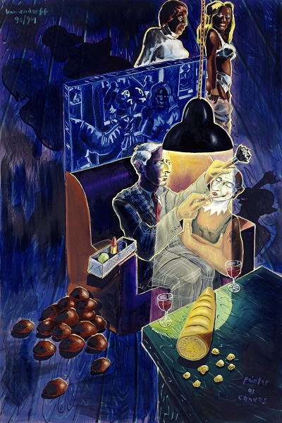Jörg Immendorff. Les théâtres de la peinture : Jörg Immendorff. Dans Café de Flore (avec Max, Otto,Ernst). 1987, huile sur toile, 300 x 260 cm. Photo: Lothar Schnepf, Cologne. Collection privée