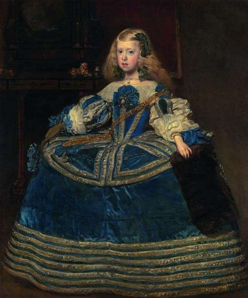 Velázquez : Portrait de l'infante Marguerite en bleu. Vers 1659, huile sur toile, 127 x 107 cm.  Kunsthistorisches Museum, Vienne.