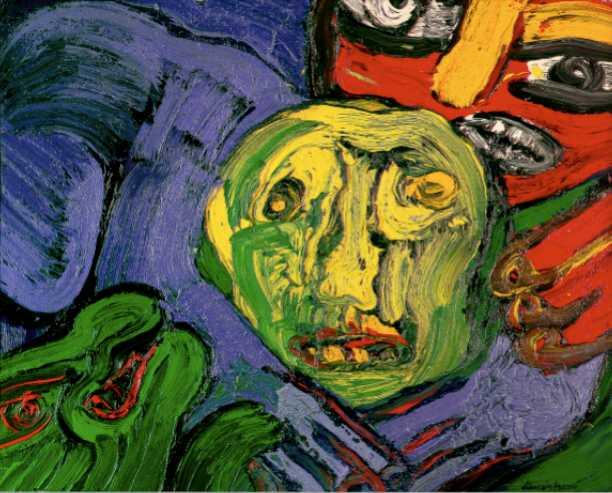Instinct'Art, Morceaux choisis de la collection de l'Abbaye : Bengt Lindstrom, Tête dans la forêt, 1976, HST, 162x130, crédit : Atelier Démoulin