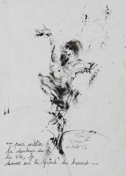 Instinct'Art, Morceaux choisis de la collection de l'Abbaye : Stani Nitkowski, Pour oublier la douleur de la vie..., 1996, ECSP, 29.7x21, crédit : Atelier Démoulin