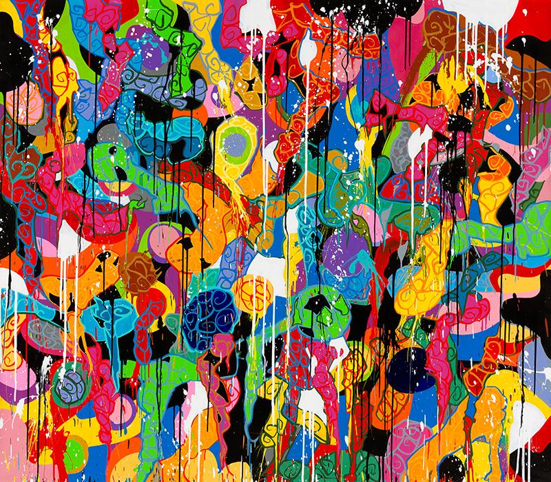 JonOne. Fireworks : Snakes And Ladders. 2015, acrylique sur toile, 210 x 183 cm. Photo : Gwen Lebras