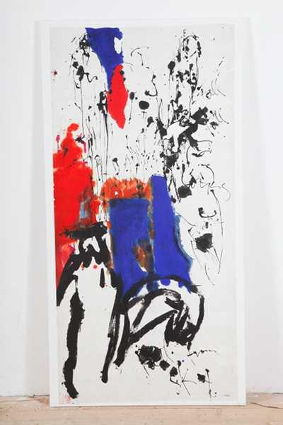 Judith Wolfe – Grands espaces colorés : 'Fall from sky' 146 x 75 ( 1998) acrylique et encre sur papier orientale marouflétoile