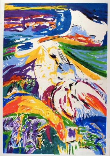 Judith Wolfe – Grands espaces colorés : 'Le Temps du Colza' 205 x 143 (1990) acrylique sur papier marouflétoile