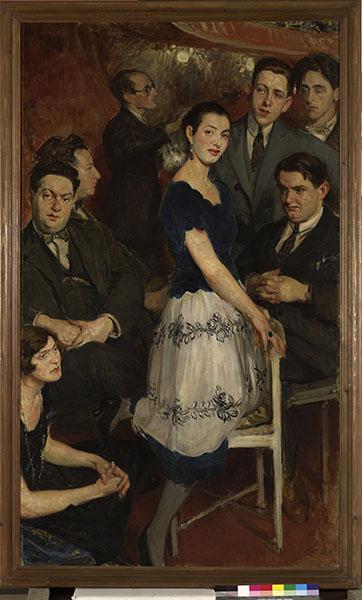 Jacques-Émile Blanche, portraitiste de la Belle Époque. : Jacques-Emile Blanche - Le Groupe des Six- 1922. Huile sur toile. 190,5 x 112 cm.