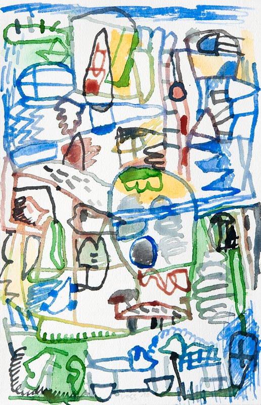 Jan Voss, De la pluie et du beau temps : Jan Voss, Un peu de pluie est bienvenue, 2010, Aquarelle sur papier, 25 x 32,5 cm,# W16107, © Courtesy Galerie Lelong / Photo Fabrice Gibert
