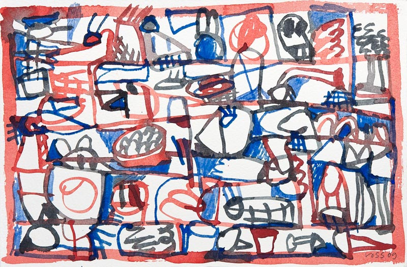 Jan Voss, De la pluie et du beau temps : Jan Voss, Petite entreprise dans le rouge, 20 x 30 cm, Aquarelle sur papier, 20 x 30 cm, # W16105, © Courtesy Galerie Lelong / Photo Fabrice Gibert