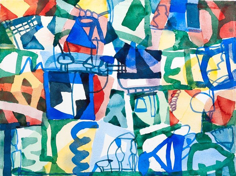 Jan Voss, De la pluie et du beau temps : Jan Voss, Mieux vaut se tenir à l'ombre, 2009, Aquarelle sur papier, 56 x 75 cm, # W16103, © Courtesy Galerie Lelong / Photo Fabrice Gibert