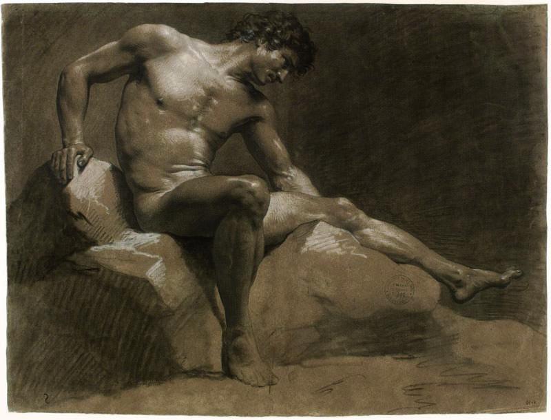 Nus académiques : Jean-Baptiste Isabey - Homme assis, février 1789