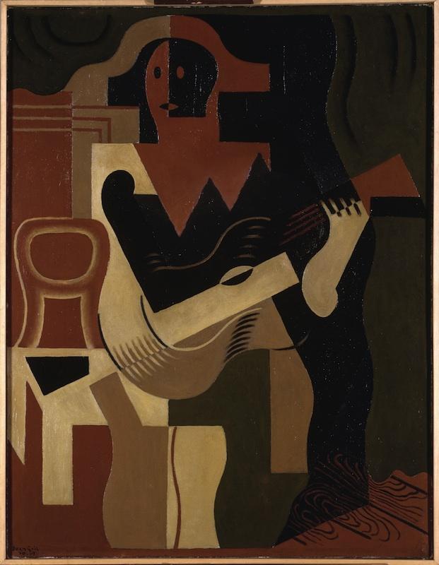 Juan Gris - Rimes de la forme et de la couleur : Arlequin assis à la guitare, 1919, huile sur toile, 116 x 89 cm. Musée National d'Art Moderne, Centre Pompidou, Paris. © Adagp, Paris 2011