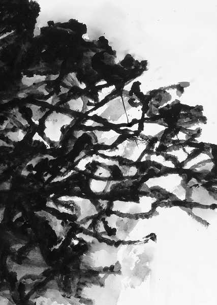 Christian Bonnefoi, Alexandre Hollan, Charles-Henry Fertin : Alexandre Hollan, Le Déchêné, grand chêne, détail, gouache, 2011, 65 x 100 cm © Illés Sarkantyu