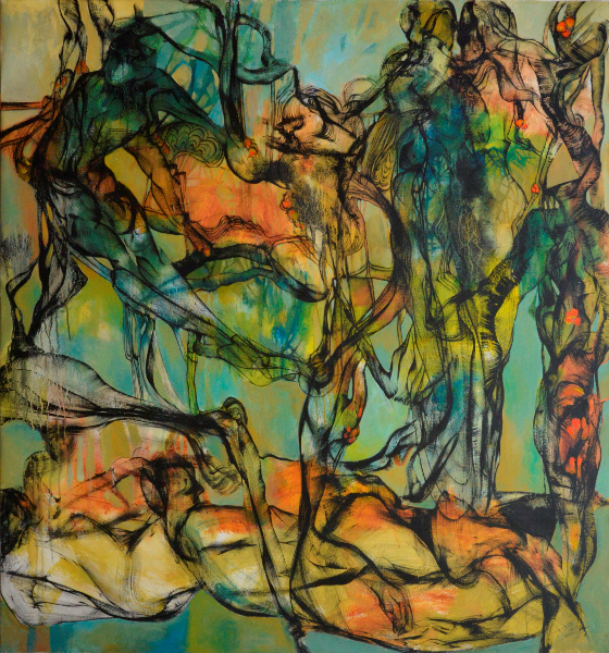 Kevork Mourad. Peintures : Kevork Mourad, Forbidden Fruit, 2010. Acrylic on canvas, 152 x 140 cm © Kevork Mourad. Courtesy Galerie Claude Lemand, Paris.