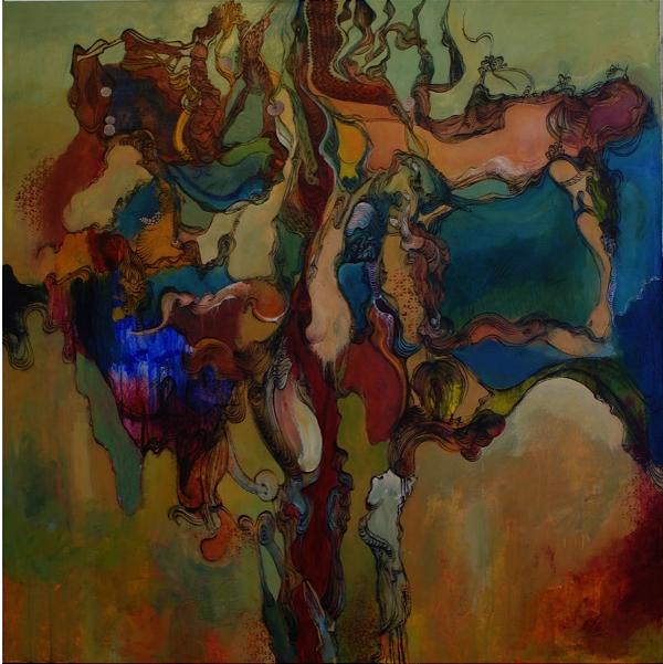 Kevork Mourad. Peintures : Kevork Mourad, Eros IV, 2011. Acrylic on canvas, 121 x 121 cm. © Kevork Mourad. Courtesy Galerie Claude Lemand, Paris.