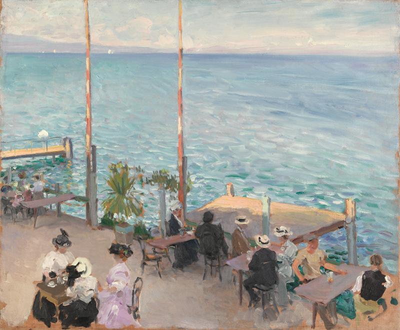 La Suisse par les Russes : Un café sur les bords du lac de Genève. Nikolaï Clodt von Jürgensbourg, 1908 © Galerie Trétiakov, Moscou
