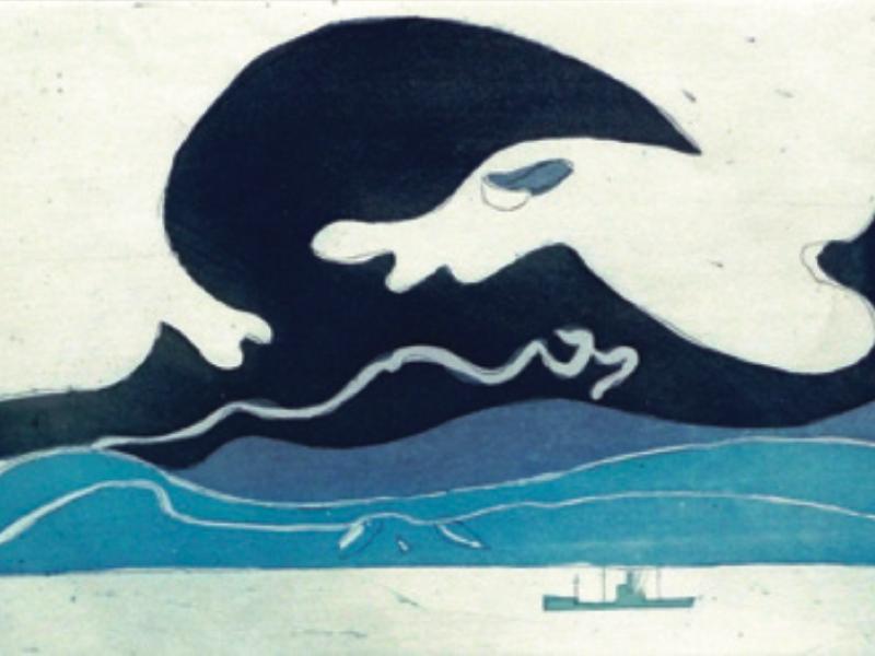 En mer avec Henri Landier : Henri Landier. La Vague bleue. 2005, gravure à l'eau-forte et aquatinte, 33 x 50 cm.