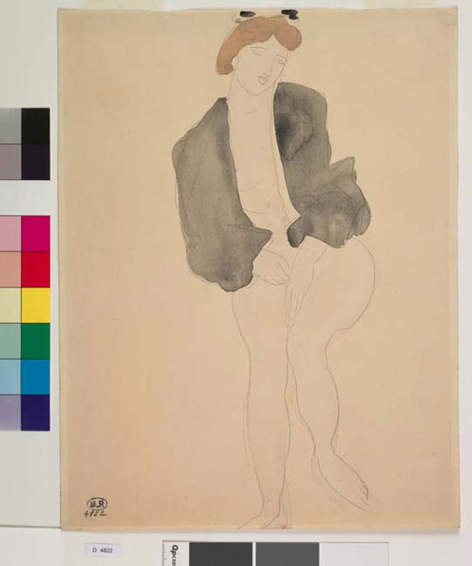 La saisie du modèle, Rodin 300 dessins. 1890-1917 : Auguste Rodin Femme assise, un vêtement sur les épaules et sur les bras © Musée Rodin - Photo : Jean de Calan