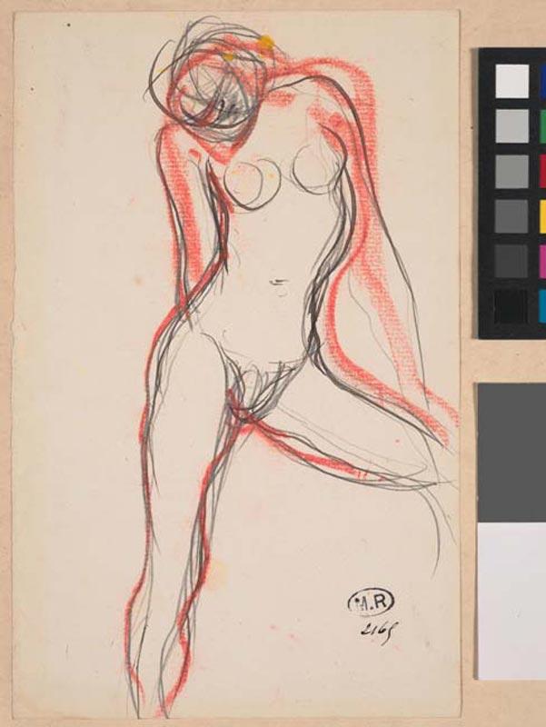 La saisie du modèle, Rodin 300 dessins. 1890-1917 : Auguste Rodin Femme nue à la jambe gauche éartée © Musée Rodin - Photo : Jean de Calan