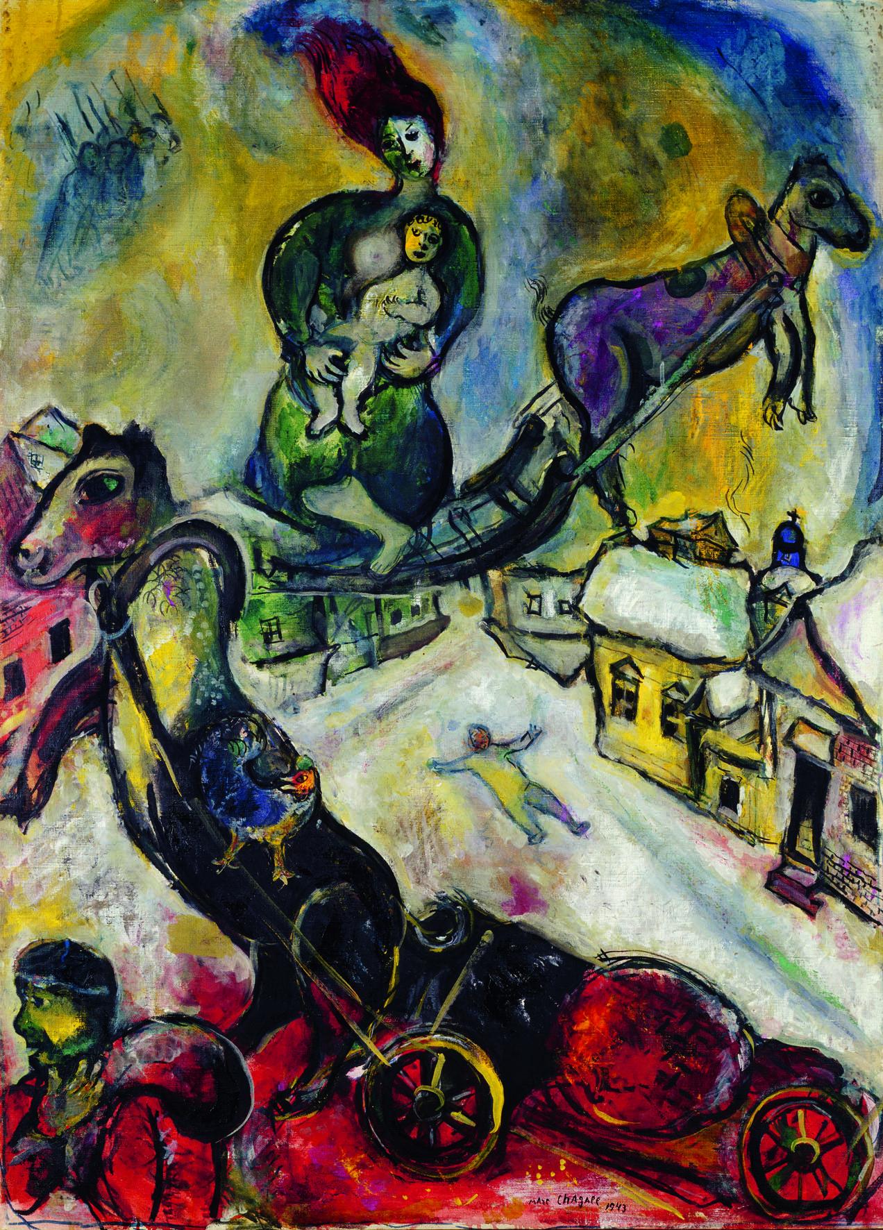 Chagall – Entre guerre et paix : La guerre, Chagall, Soldat blessé 1914 48,9 x 37,8 cm aquarelle, huile et gouache sur carton Philadelphia Museum of Art, don de Mary Katherine Woodworth en memoire d