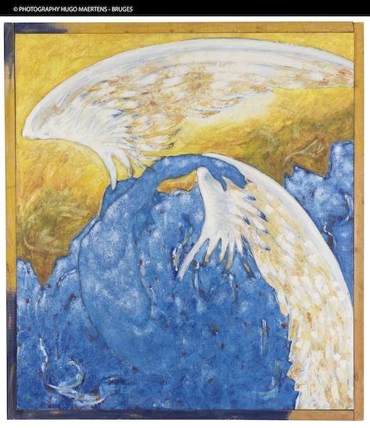 Aux sources des années 1980. Eighties and Echoes. : Denis LAGET Icare, 1983 Huile sur toile, 187,5 x 169 cl MASC, Musee d'art moderne et contemporain, Les Sables d'Olonne © Hugo Maertens, Bruges