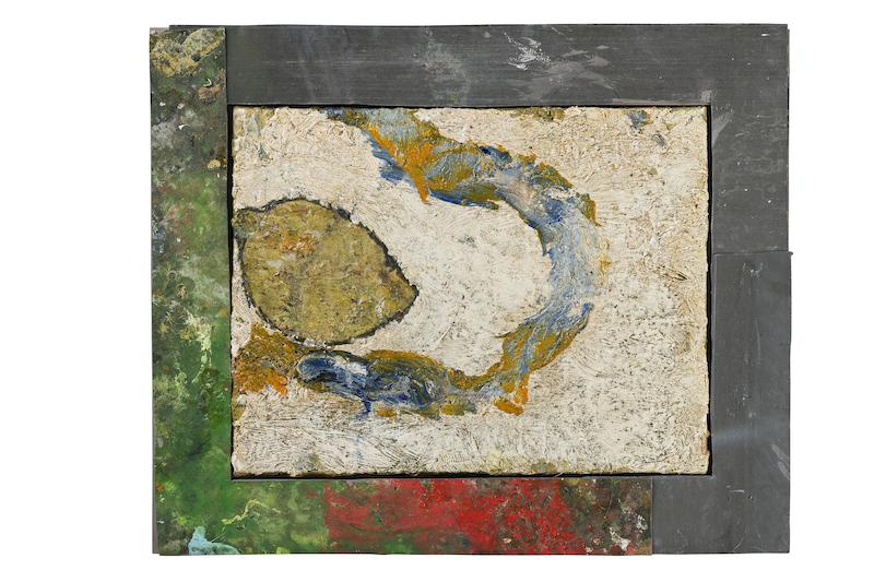 Denis Laget. : Sans titre, 1992, huile sur toile, cadres en zinc, 15 peintures, 40 x 48 cm, 15/15, Collection Taÿ Pamart