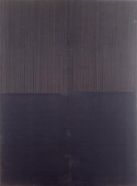 Déplacer, déplier, découvrir. La peinture en actes, 1960-1999 : Jean Degottex, Report noir 02, 1977. Musée du monastère royal de Brou, Bourg-en-Bresse. Photo : A. Basset. © Adagp Paris, 2012.