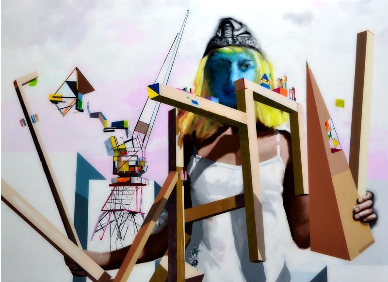 Muriel Rodolosse. X degrés de déplacement : L'Arpenteur, 2011 Peinture sur Plexiglas, 140 x 190 cm  Production Frac Aquitaine © Muriel Rodolosse