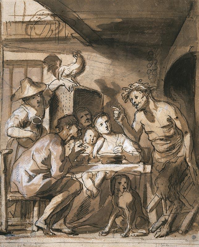 Le baroque en Flandres - Rubens, Van Dyck, Jordaens - Dessins de l'Ecole Nationale supérieure des Beaux-Arts : Jacob Jordaens, Le satyre et le paysan, Pierre noire, plume, encre brune, lavis brun, rehauts de blanc, © Ecole nationale supérieure des beaux-arts, Paris