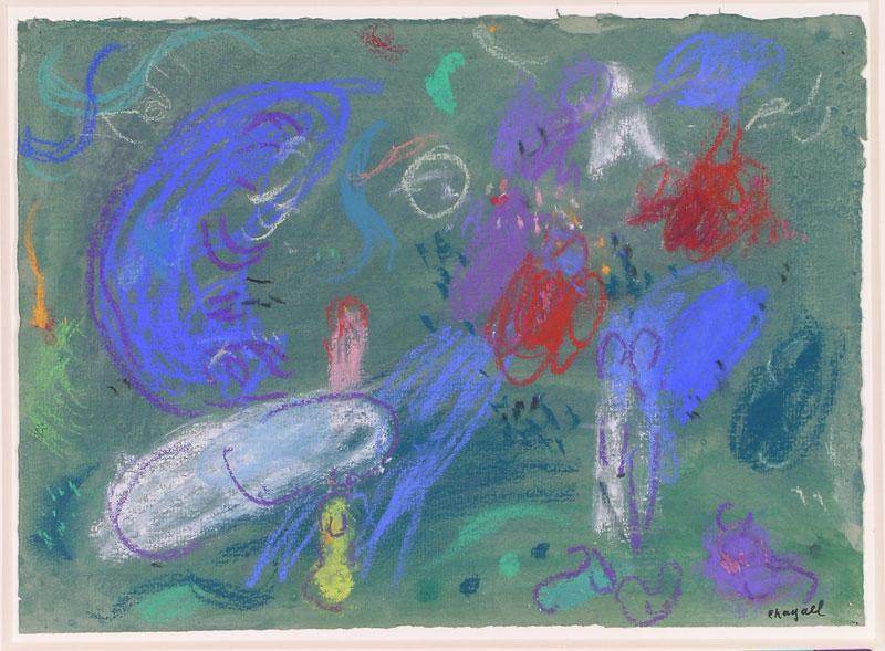 Les rares pastels de Marc Chagall, les dessins préparatoires au Message Biblique : Marc Chagall, Le Paradis, 1961, pastel et encre de Chine, lavis de gouache sur papier blanc, © Musée national Marc Chagall, cliché P. Gérin