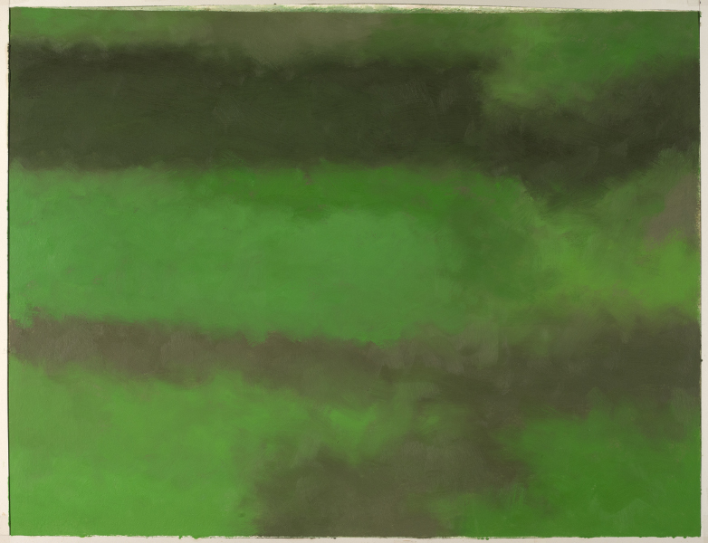 Sur le motif : Jacques Le Brusq, Paysage, 2012, huile sur papier, 48 x 63 cm © Photo Christian Leray