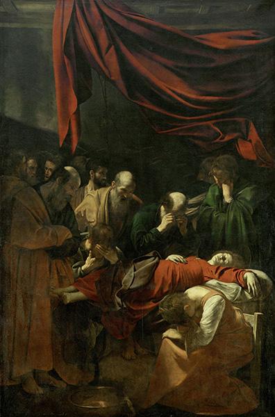 Poussin et Dieu : Le Caravage. La Mort de la Vierge. Huile sur toile, 369 x 245 cm. Courtesy du Muse?e du Louvre. RF 3165. © Vienne, Erich Lessing