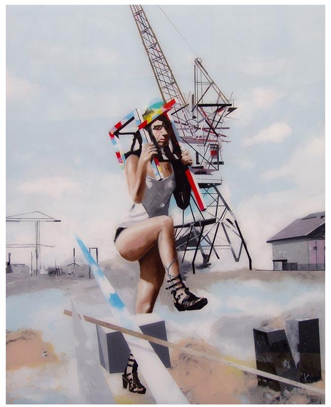 Muriel Rodolosse. X degrés de déplacement : L'Entrave, 2011  Peinture sur Plexiglas, 100 x 80 cm Production Frac Aquitaine © Muriel Rodolosse