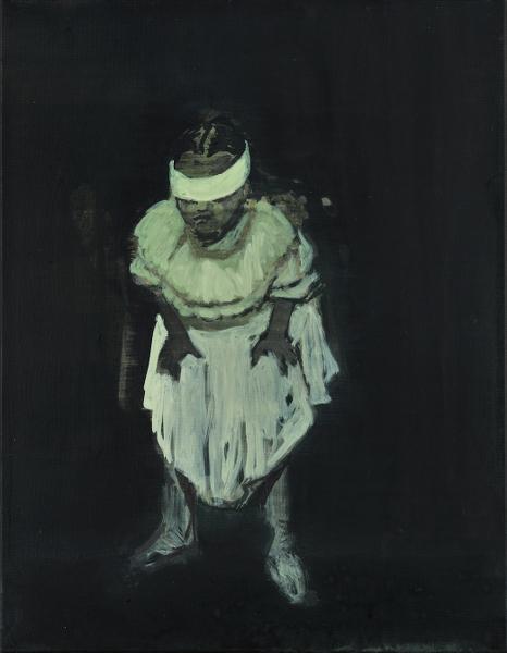 Claire Tabouret, Prosôpon : Les yeux bandés, 2013, acrylique sur toile, 35 x 27cm ® Claire Tabouret