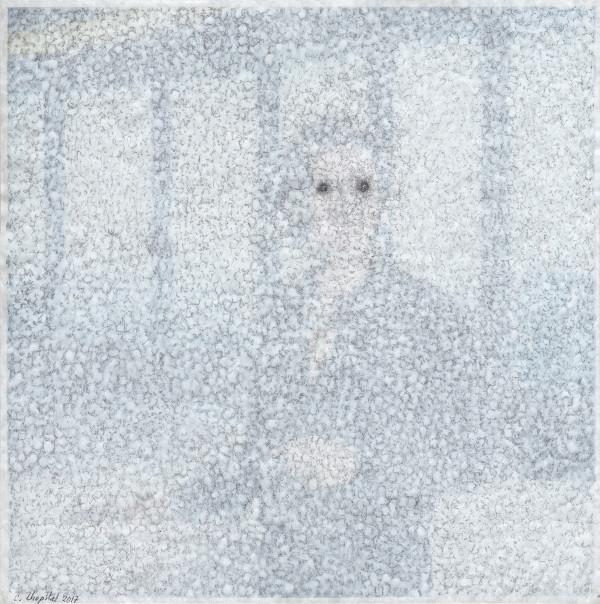 Le dessin, autrement : Christian Lhopital, Fixe face silence n°37, gesso et graphite sur papier journal, collé sur papier, 39,4 x 39,3 cm, 2017.