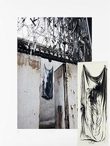 Ernest Pignon-Ernest. À la naissance du dialogue urbain : Linceul  2013  Estampe numérique 9/50 ex. 80 x 60 cm  © Galerie Lelong
