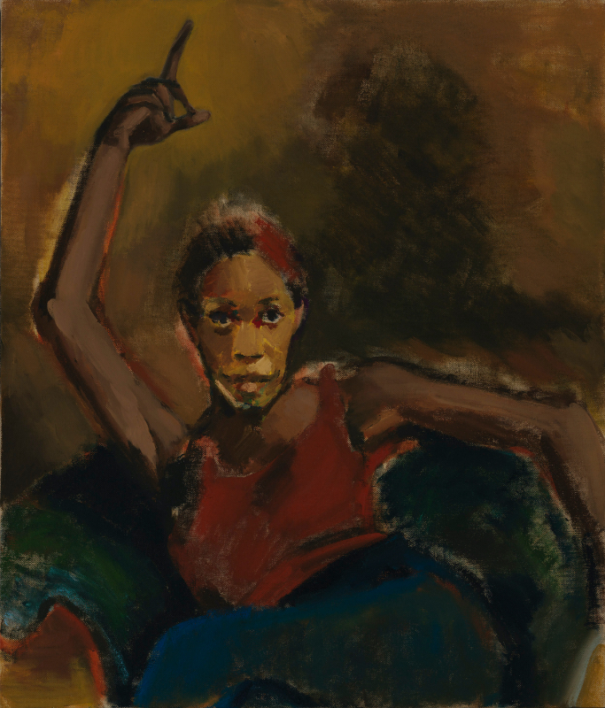 Lynette Yiadom-Boakye. Fly In League With The Night : Lynette Yiadom-Boakye A Hatred In May 2020 Oil on linen 1000 x 850 mm  Courtesy the Artist, Corvi-Mora, London, and Jack Shainman Gallery, New York.  Photo: Marcus Leith