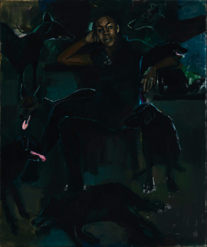 Lynette Yiadom-Boakye. Fly In League With The Night : Lynette Yiadom-Boakye. The Stygian Silk. 2019, huile sure toile, 180 x 150 cm. Courtesy the Artist, Corvi-Mora, London, and Jack Shainman Gallery, New York.  Photo: Marcus Leith
