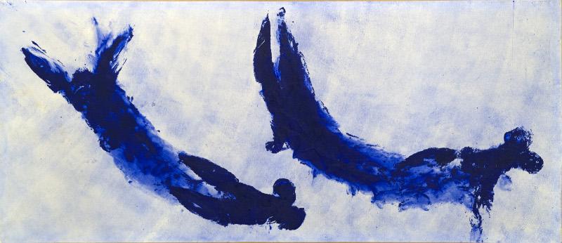 Klein-Byars-Kapoor : Yves Klein. Anthropométrie (ANT 84), 1960 Pigment pur et résine synthétique sur papier marouflé sur toile 155 x 359 cm Collection MAMAC, Nice - Achat en 1988 avec l'aide du FRAM © ADAGP, Paris, 2012