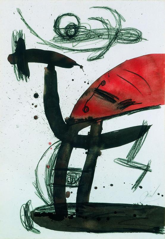 Vivantes natures : Joan Miro. Personnage, oiseaux. 1977, fusain, lavis d'encre de Chine, aquarelle, 91 x 63,2 cm.